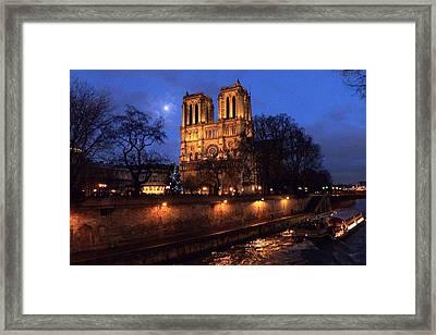 Notre Dame By Full Moon Framed Print