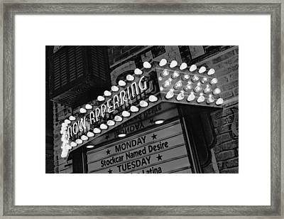 Now Appearing In Uptown  Framed Print