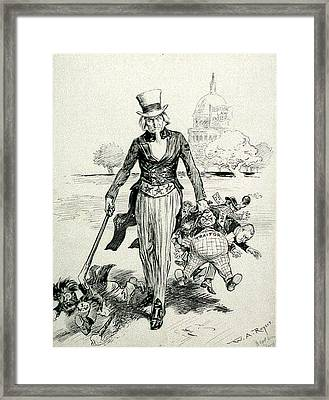 Now For A Round-up Uncle Sam Gathering Framed Print by Everett