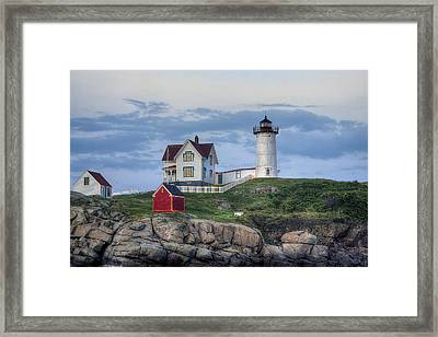 Nubble Light At Dusk Framed Print by Eric Gendron