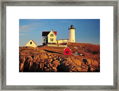 Nubble Light Sunset Framed Print