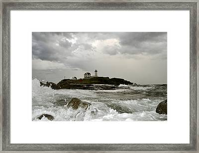 Nubble Lighthouse In The Thick Framed Print