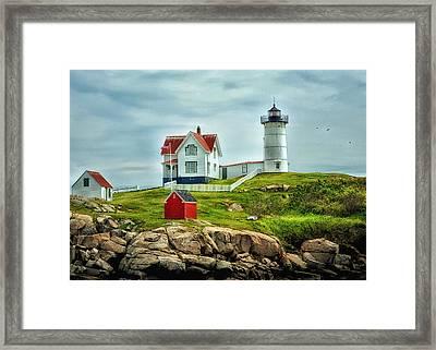 Nubble Lighthouse Framed Print by Tricia Marchlik
