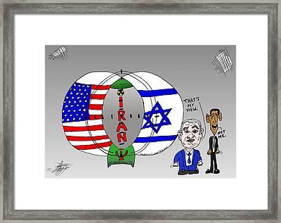 Nuclear Iran Cartoon Framed Print