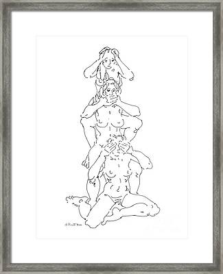 Framed Print featuring the drawing Nude Female Drawings 5 by Gordon Punt