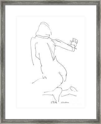 Framed Print featuring the drawing Nude Female Drawings 8 by Gordon Punt