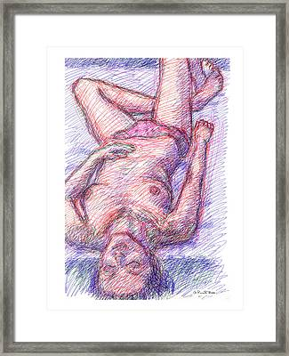 Framed Print featuring the drawing Nude Female Sketches 6a by Gordon Punt