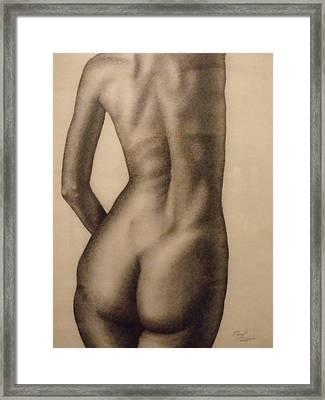 Nude Female Study Of Back Framed Print by Neal Luea