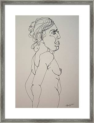 Nude Girl In Contour Framed Print by Rand Swift