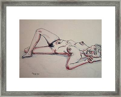 Nude In Contour Laying Framed Print by Rand Swift