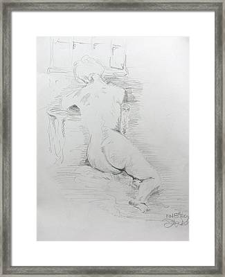 Nude In Front Of Table And Window Framed Print