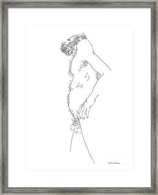 Framed Print featuring the drawing Nude Male Drawings 6 by Gordon Punt