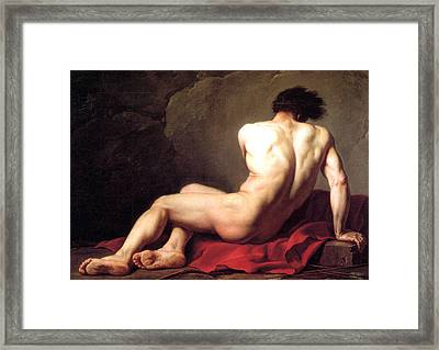 Nude Male Framed Print by Sumit Mehndiratta