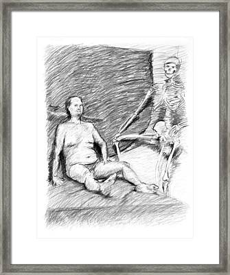 Nude Man With Skeleton Framed Print by Adam Long