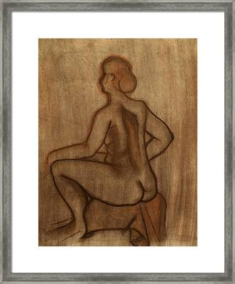 Nude Model Drawing Framed Print by Teri Schuster