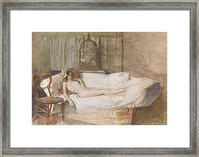 Nude On A Sofa Framed Print by John Ward