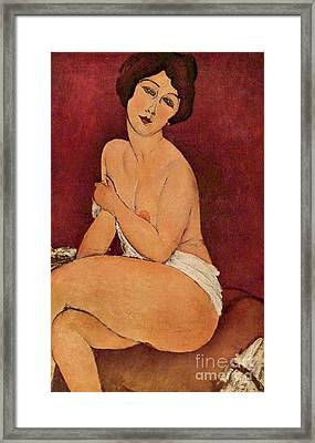 Nude On Divan Framed Print by Pg Reproductions