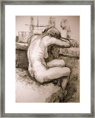 Nude On The Window Framed Print by Alfons Niex