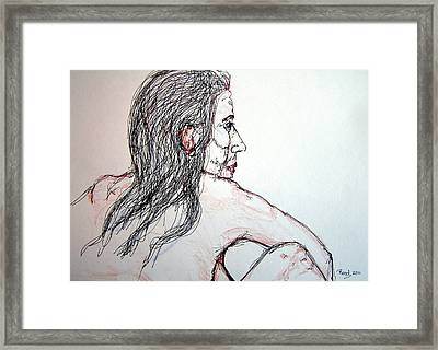 Nude Sitting Framed Print