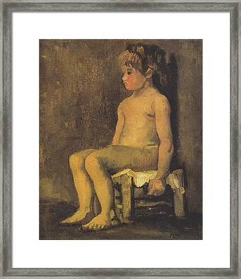 Nude Study Of A Little Gir Seated Framed Print by Vincent Van Gogh