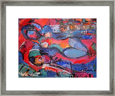 Lying Nude With Guitar 50 Framed Print