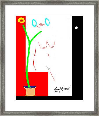 Nude With Turquoise Hoops Framed Print