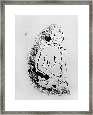 Framed Print featuring the painting Nude Young Female That Is Mysterious In A Whispy Atmospheric Hand Wringing Pose Highly Contemplative by M Zimmerman
