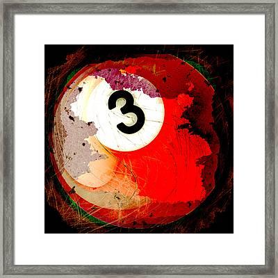 Number 3 Billiards Ball Framed Print by David G Paul