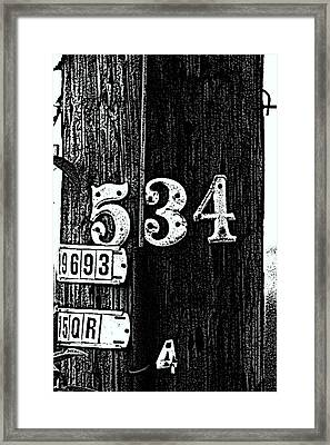 Numbers Framed Print by Bret Worrell