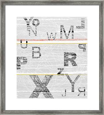 Numbers Grey Framed Print by Naxart Studio