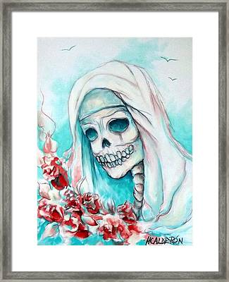 Nun With Flowers Framed Print by Heather Calderon