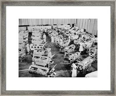 Nurse Attend To A Room Full Of Polio Framed Print by Everett