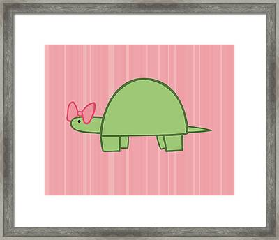 Nursery Art Girls Turtle Framed Print by Christy Beckwith