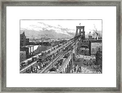Ny: Brooklyn Bridge, 1883 Framed Print by Granger