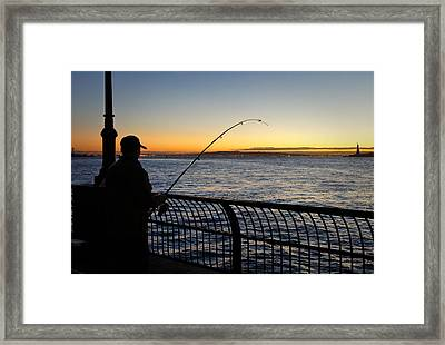 Ny Harbor Sunset Framed Print