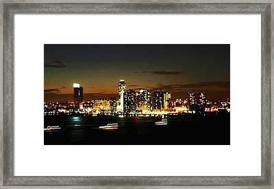 Ny Night Skyline Framed Print by Jenn Bodro