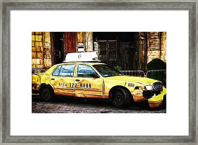 Ny Taxi Cab Framed Print by Fiona Messenger