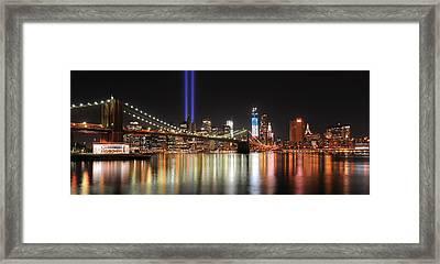Nyc - Manhattan Skyline 9-11 Tribute Framed Print