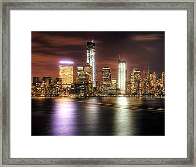 Nyc And The Ferry Boat Light Framed Print by Vicki Jauron