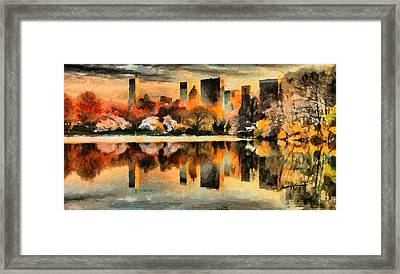 Nyc At Sunset Framed Print by Anthony Caruso