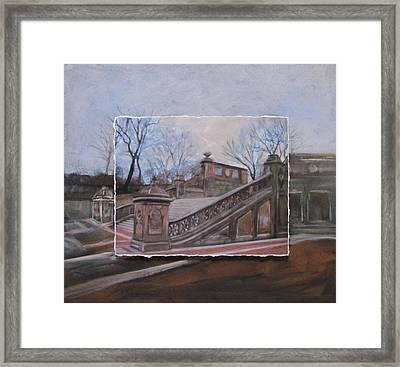 Nyc Bethesda Stairs Layered Framed Print by Anita Burgermeister