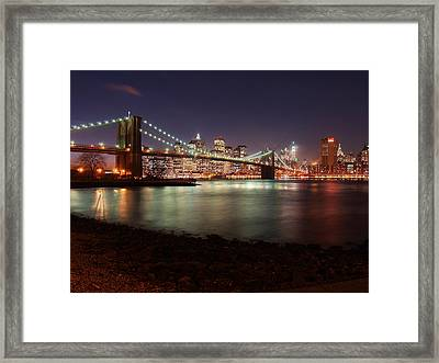 Nyc Brooklyn Nights Framed Print by Nina Papiorek