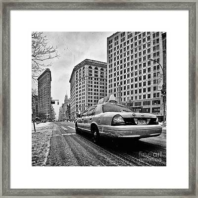 Nyc Cab And Flat Iron Building Black And White Framed Print by John Farnan