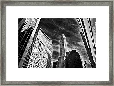 Nyc Looking Up Bw10 Framed Print