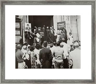 Nyc Memorial Service For Medgar Evers Framed Print by Everett
