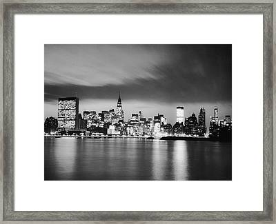 Nyc Skyline At Night Framed Print by George Marks