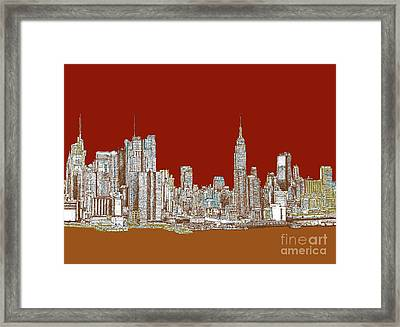 Nyc Skyline In Red Sepia Framed Print by Building  Art
