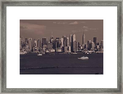 Nyc Skyline Framed Print by Kirit Prajapati