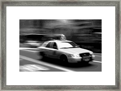 Nyc Taxi Bw16 Framed Print