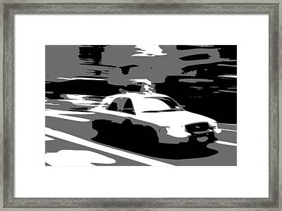 Nyc Taxi Bw3 Framed Print